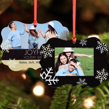 Joyful Personalized Metal Ornament, Black