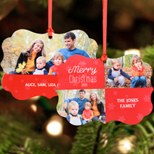 A Very Merry Christmas Personalized Metal Ornament, Red