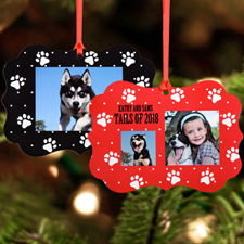 Furry Tails Personalized Metal Ornament, Red