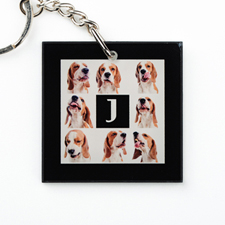 Black Collage Personalized Acrylic Square Keychain