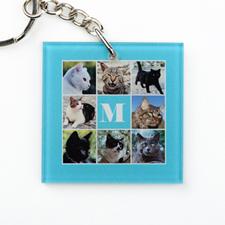 Aqua Collage Personalized Acrylic Square Keychain