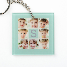 Mint Collage Personalized Acrylic Square Keychain