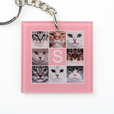 Pink Collage Personalized Acrylic Square Keychain