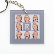 Grey Collage Personalized Acrylic Square Keychain