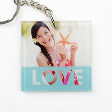 Love Personalized Acrylic Square Keychain