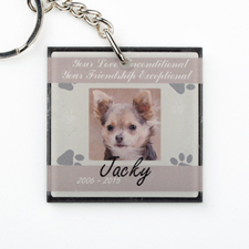Brown Pet Memorial Personalized Acrylic Square Keychain