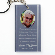 Memorial Personalized Acrylic Rectangular Keychain