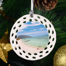 Personalized Ceramic Round Filigree Ornament (Custom 1 Side)