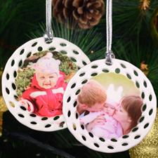 Personalized Ceramic Round Filigree Ornament (Custom 2 Side)