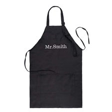 28 x 30 Custom Embroidered Name Apron, Black