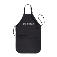 22 x 24 Personalized Adult Apron with Embroidered Name, Black