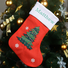 Embroidered Name Christmas Tree Stocking