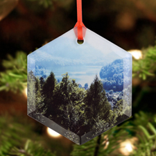 Personalized Photo Glass Ornament Hexagon 3