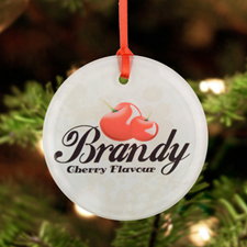 Personalized Photo Glass Ornament Round 3
