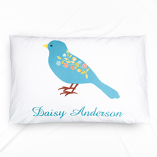 Blue Bird Personalized Name Pillowcase