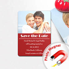 Save the Date Photo Magnet, Red