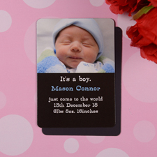 Personalized Baby Boy Black Birth Announcement Photo Magnet