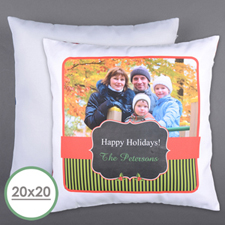 Classic Holiday Personalized Photo Large Pillow Cushion Cover 20