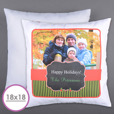 Classic Holiday Personalized Photo Large Cushion 18