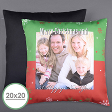 Merry Christmas Personalized Photo Large Pillow Cushion Cover 20