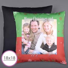 Merry Christmas Personalized Photo Large Cushion 18