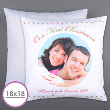 Our First Christmas Personalized Photo Large Cushion 18