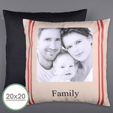 Stripe Family Personalized Photo Large Pillow Cushion Cover 20