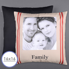 Stripe Family Personalized Photo Pillow Cushion (No Insert)