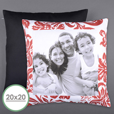 Red Floral Personalized Photo Large Pillow Cushion Cover 20