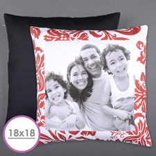 Red Floral Personalized Photo Large Cushion 18