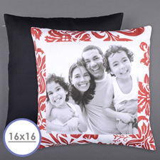 Red Floral Personalized Photo Pillow Cushion Cover 16