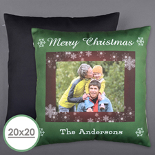 Christmas Snowflake Personalized Photo Large Pillow Cushion Cover 20