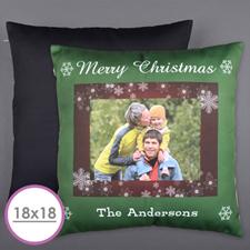 Christmas Snowflake Personalized Photo Large Cushion 18