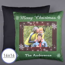 Christmas Snowflake Personalized Photo Pillow Cushion Cover 16