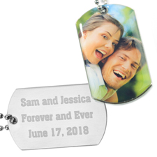 Personalized Photo Dog Tag Pendant Back Engrave Message