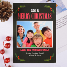 Merry Berry Personalized Christmas Photo Card