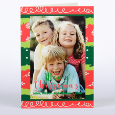 Colorful Christmas Personalized Photo Card, Folded 5X7
