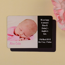 Personalized I Am A Girl Black Birth Announcement Photo Magnet