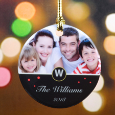 Monogram Personalized Photo Christmas Ornament