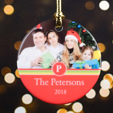 Stripe Personalized Photo Christmas Ornament