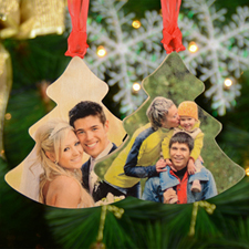 Personalized Wooden Photo Tree Ornament