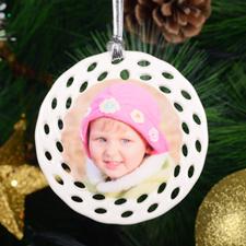 Personalized Photo Ceramic Round Filigree Ornament (Custom 1 Side)