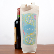 Floral Personalized Wine Cotton Tote Bag