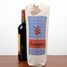 Ladybug Personalized Wine Cotton Tote Bag