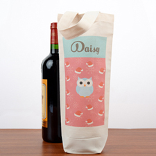 Owl Personalized Wine Cotton Tote Bag