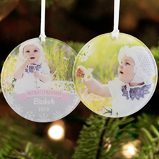 Baby Girl First Christmas Personalized Photo Acrylic Ornament