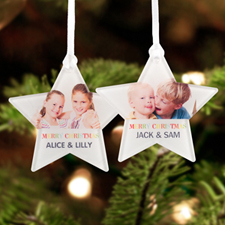 Merry Christmas Personalized Photo Acrylic Star Ornament