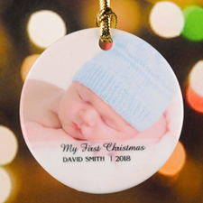 My First Christmas Personalized Photo Porcelain Ornament