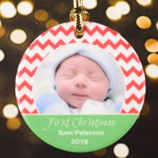Chevron Personalized Photo Christmas Porcelain Ornament