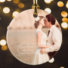 Mr. & Mrs. First Christmas Personalized Photo Porcelain Ornament